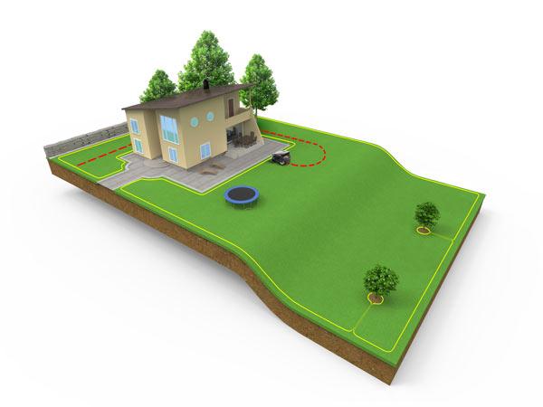 automatischer Rasenmäher Kabelverlegung